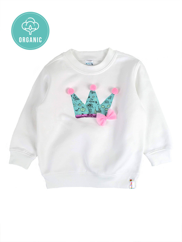 Girl Organic Cotton shine in the dark Crown Sweatshirt