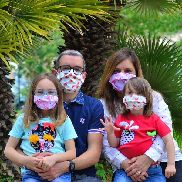 Family 4-pack of Fabric Face Masks – Reusable & 100% Eco-Premium.